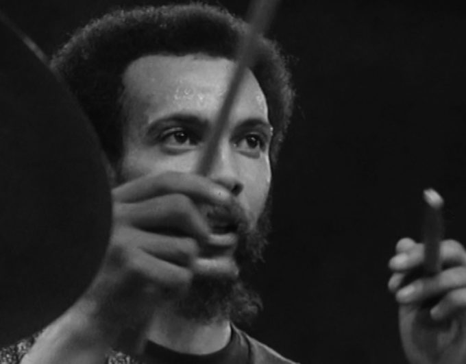 photo of Milford Graves performing on live French TV in 1973